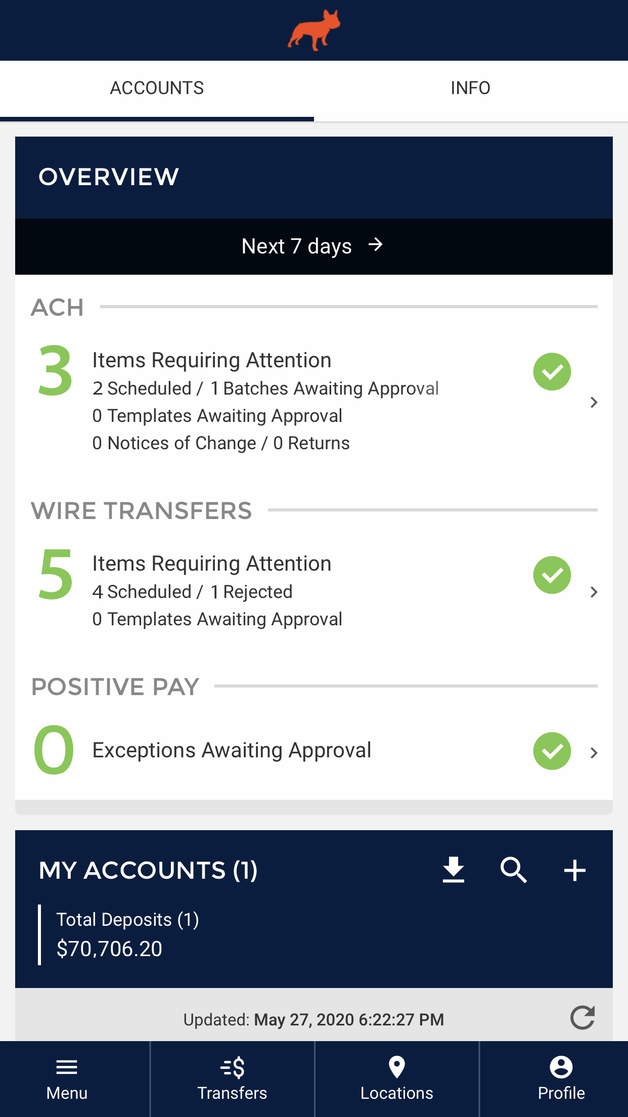 ACH Wire Transfer Management in App