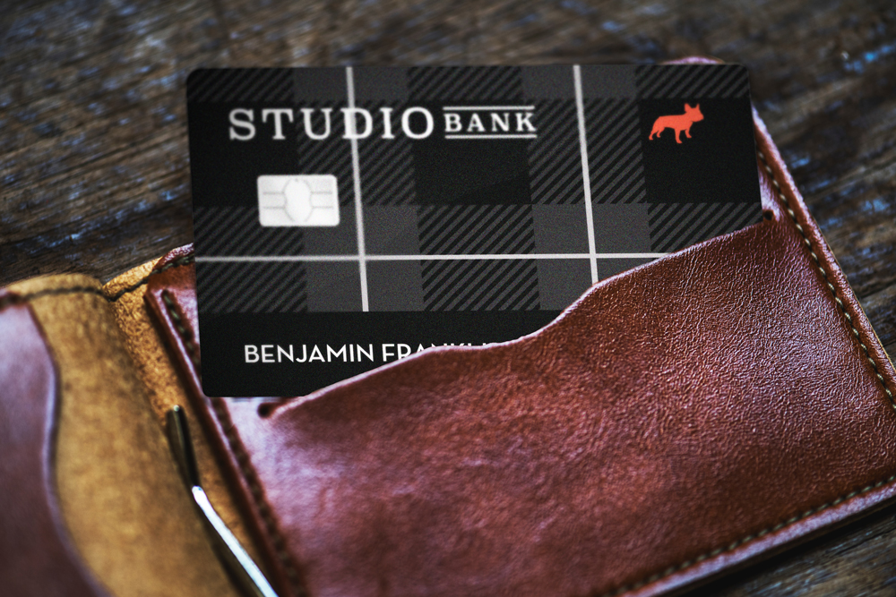 Studio Bank Black Plaid Debit Card in Wallet